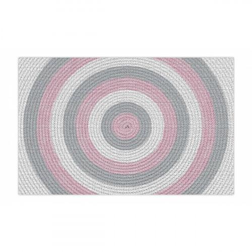 שטיח פיויסי עיגולים ורוד ואפור - במגוון מידות