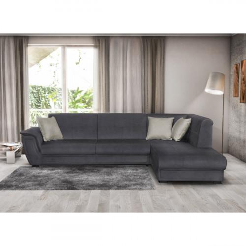 מערכת ישיבה פינתית נפתחת למיטה זוגית עם ארגזי מצעים דגם קליפורניה-פרימיום אפור