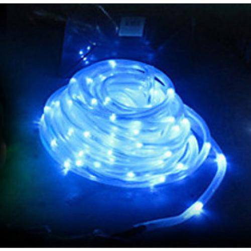 תאורה ידידותית לסביבה - שרשרת 50 נורות LED סולארית בחיפוי צינור פלסטיק -  דגם L50 כחול
