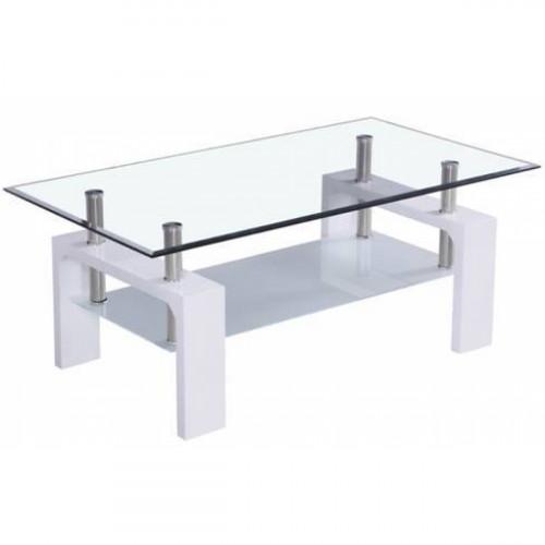 שולחן סלון איכותי דגם סיציליה משולב זכוכית כולל מדף תחתון  לבן מבריק