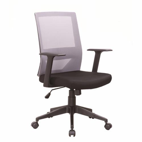 כיסא משרדי עם גב רשת וידיות דגם ברקן שחור-אפור