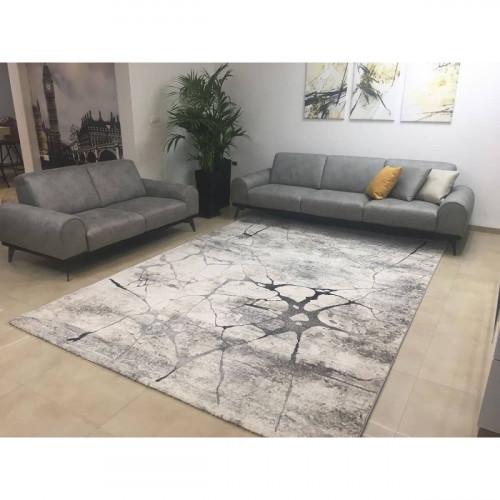 שטיח פלאש בטון אפור לבן 200X290