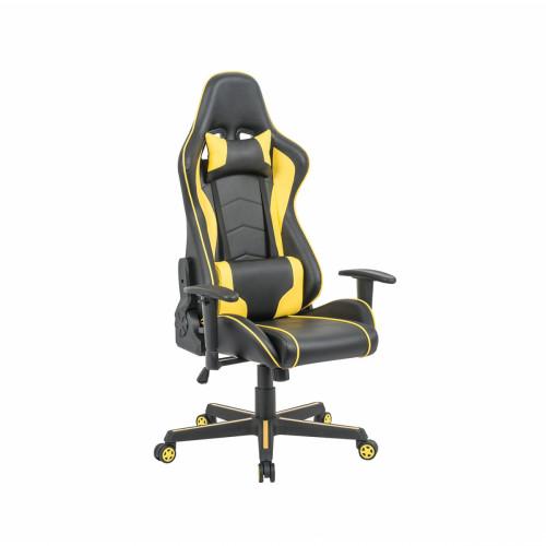כיסא פרו-גיימר נוח לישיבה ממושכת בעל משענת גב נוחה וגבוהה במיוחד לבית או למשרד שחור-צהוב