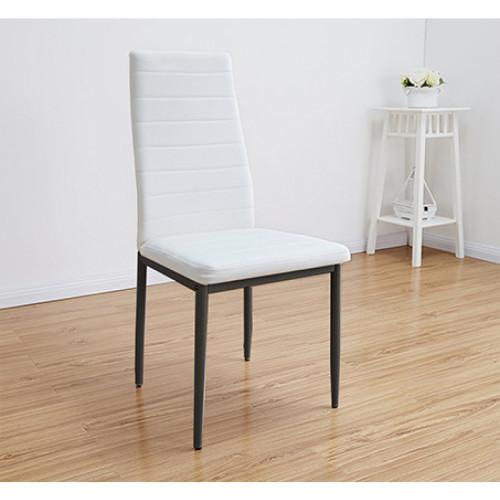 זוג כיסאות לפינת אוכל בריפוד עור רך ואיכותי בצבע לבן דגם לוגאנו