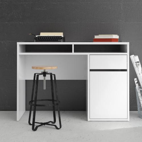 שולחן כתיבה לבן מבריק עם מגירה ותאי אחסון תוצרת דנמרק  דגם מירב