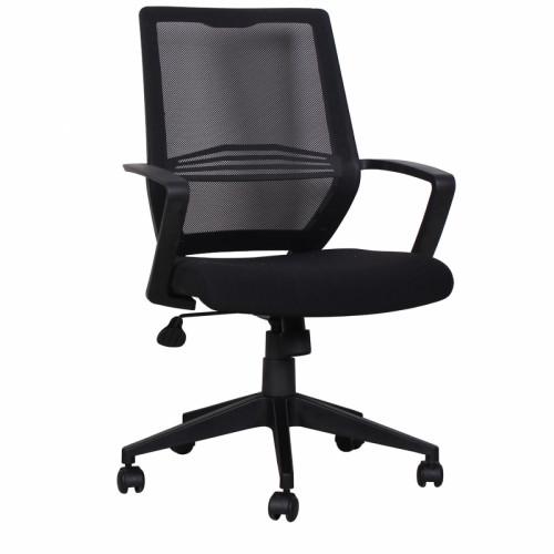 כיסא משרדי עם גב רשת וידיות דגם דרור שחור