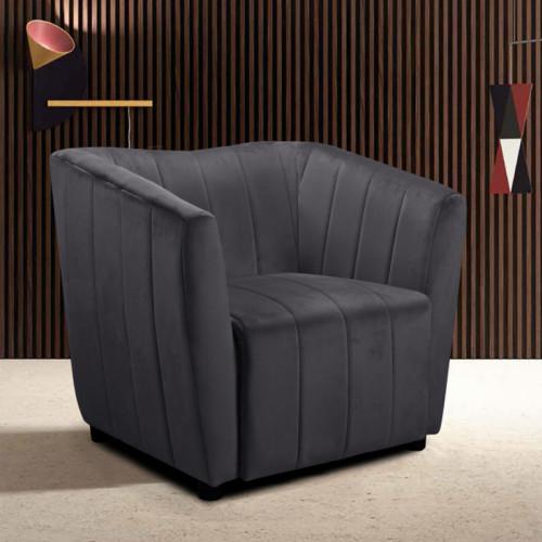 כורסא מעוצבת עם ריפוד בד קטיפה דגם דנה אפור