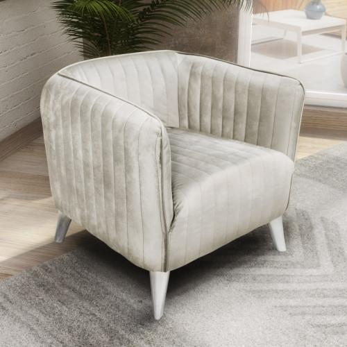 כורסא מעוצבת בריפוד בד קטיפה דגם בריסל קרם