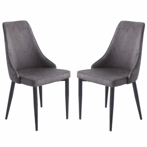 זוג כסאות מרופדים לפינת אוכל דגם ליאן אפור – משלוח חינם!