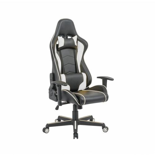 כיסא פרו-גיימר נוח לישיבה ממושכת בעל משענת גב נוחה וגבוהה במיוחד לבית או למשרד שחור-לבן