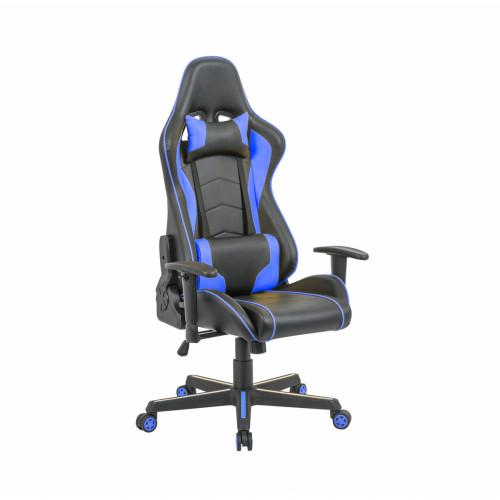 כיסא פרו-גיימר נוח לישיבה ממושכת בעל משענת גב נוחה וגבוהה במיוחד לבית או למשרד שחור-כחול