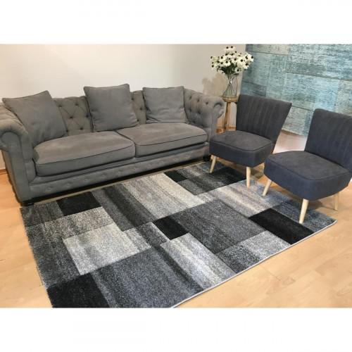 שטיח אומגה רטרו קוביות שחור אפור לבן 160X230