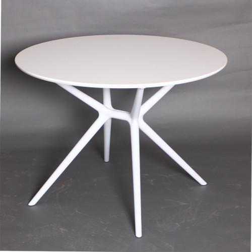 שולחן אוכל לבן עגול 100 ס
