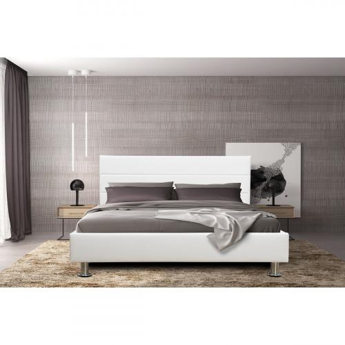 מיטה זוגית 140x190 מעוצבת בריפוד דמוי עור לבן דגם פיזה