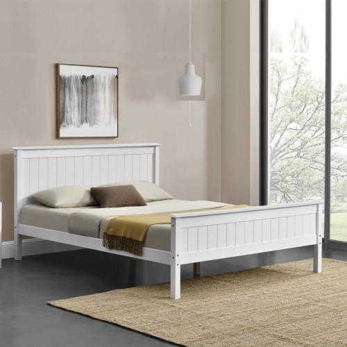 מיטה זוגית 140x190 מעץ מלא משולב בעיצוב קלאסי דגם דביר 140