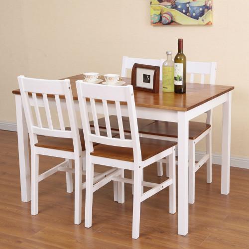 פינת אוכל מעץ מלא , הכוללת שולחן עם 4 כיסאות בגוון דבש בשילוב לבן NERON