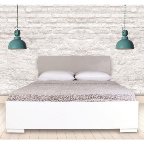 מיטה מעוצבת בעיצוב חדשני עם ארגז מצעים  מתאימה למזרון 140/190 לבן ראש מיטה אפור ניס