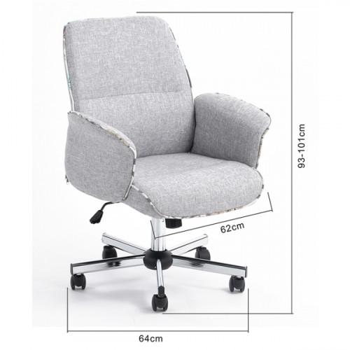 כיסא מנהל וושינגטון - ריפוד בד אפור