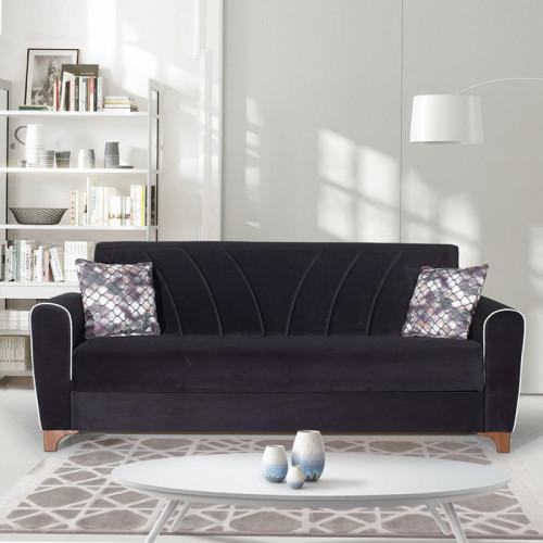 ספה תלת מושבית נפתחת למיטה רחבה עם ארגז מצעים דגם בריזה שחור