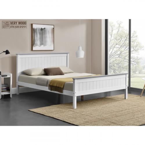 מיטה זוגית מעץ מלא בעיצוב קלאסי 140/190 דגם ליטל לבן