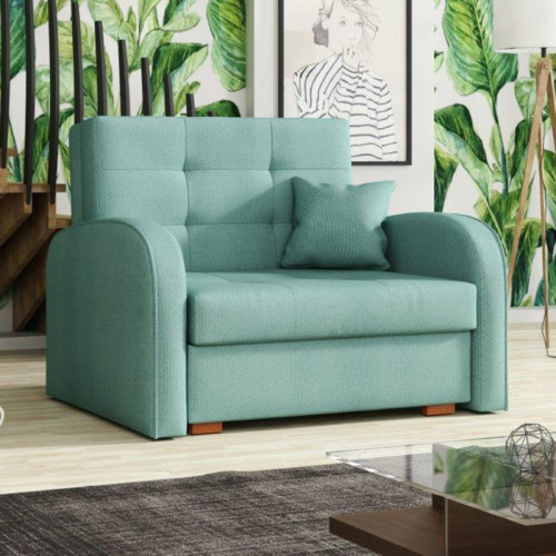 כורסא אירופאית נפתחת למיטה עם ארגז מצעים דגם מונו ירוק מנטה
