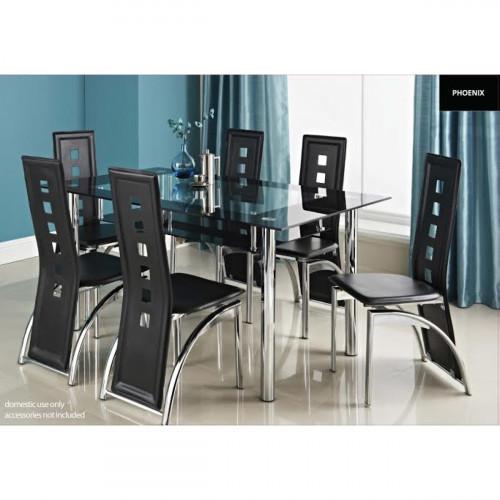 פינת אוכל מזכוכית דגם LORETO כולל 6 כיסאות בצבע שחור