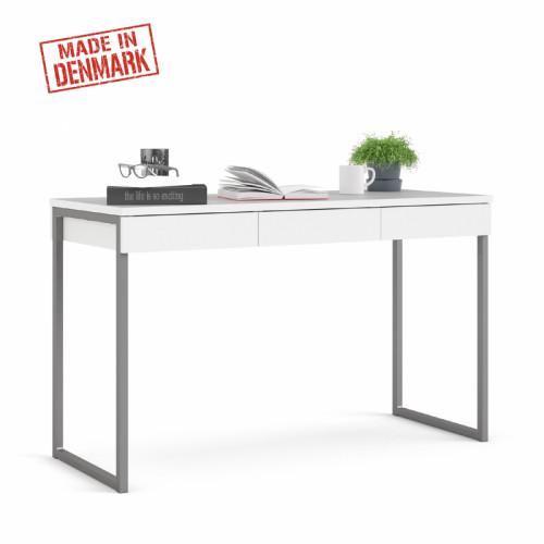 שולחן כתיבה עם מגירות ורגלי ברזל תוצרת דנמרק דגם ענת-לבן
