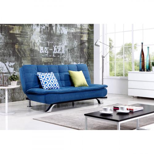 ספה דו מושבית מעוצבת נפתחת למיטה בצבע כחול BREGENZ