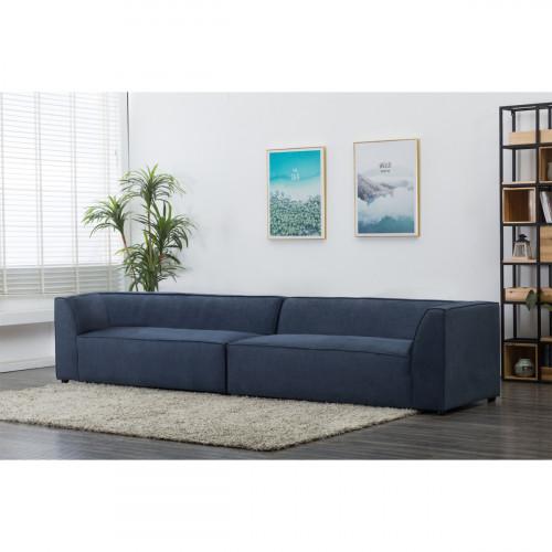 ספה רחבה 3.2 מ' מודרנית מרופדת בד דגם פטיו כחול צד שזלונג ימין