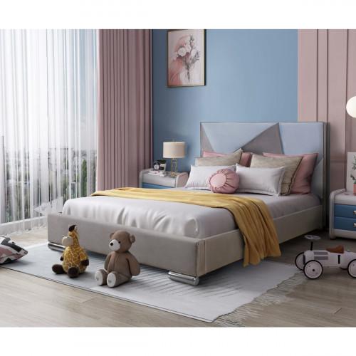 מיטת נוער רחבה ומעוצבת 120x190 בריפוד בד קטיפתי דגם ברק