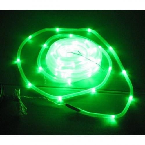 תאורה ידידותית לסביבה - שרשרת 50 נורות LED סולארית בחיפוי צינור פלסטיק דגם L50 - ירוק