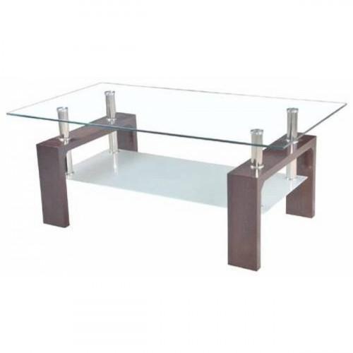 שולחן סלון איכותי דגם סיציליה משולב זכוכית כולל מדף תחתון  חום
