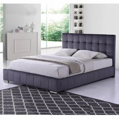 מיטה זוגית מרופדת בד קטיפתי המתאימה למזרון 140/190 דגם פטסי