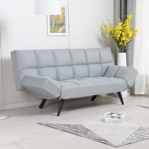 ספה מעוצבת מרופדת בד רחיץ ונפתחת למיטה רחבה דגם לידור טורקיז