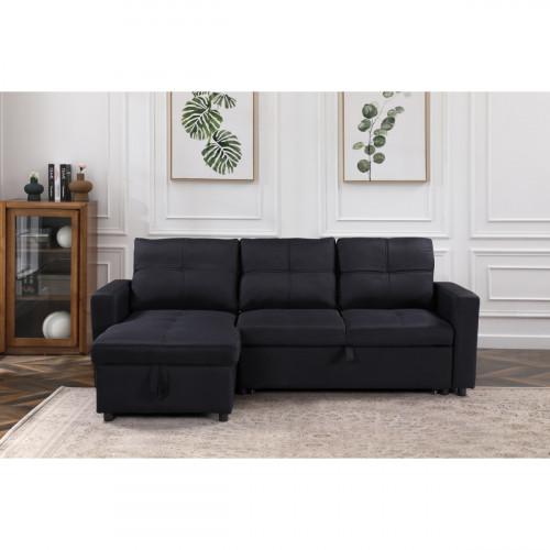 מערכת ישיבה פינתית מבד נפתחת למיטה עם ארגז מצעים  דגם ענבל שחור