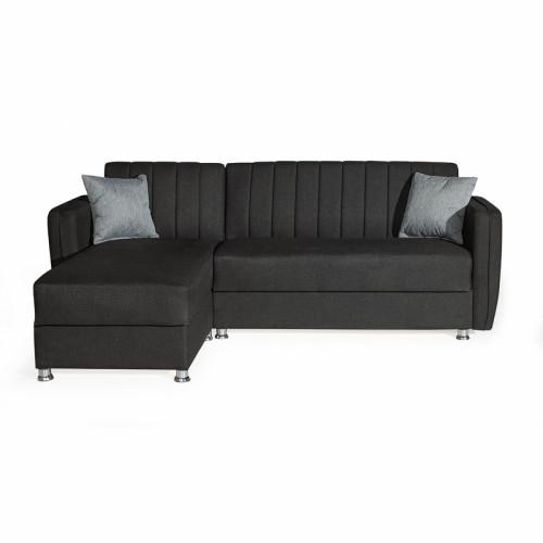 מערכת ישיבה פינתית מודולארית נפתחת למיטה עם ארגז מצעים דגם לורנס שחור