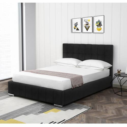 מיטה זוגית 160x200 מעוצבת ומרופדת בד קטיפתי דגם מוניק שחור