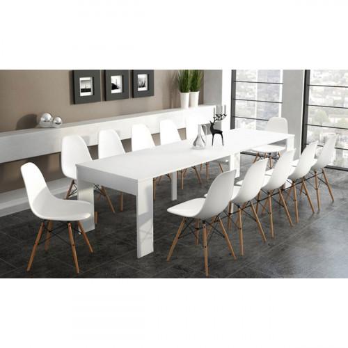 שולחן קונסולה מודולרי DOMINIC לבן מט נפתח עד 3 מטרים