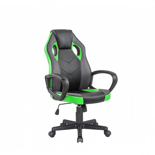 כיסא סופר גיימר ג'וניור  מעוצב עם משענת גב נוחה וגבוהה ירוק