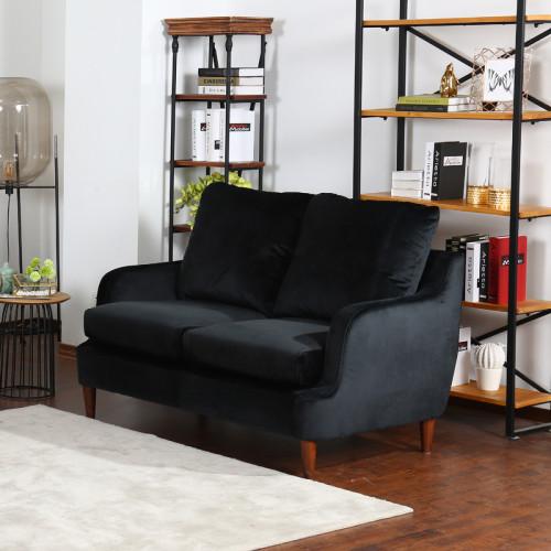 ספה דו מושבית נוחה בעיצוב קלאסי מרופדת בד קטיפתי דגם מסינה-דו שחור