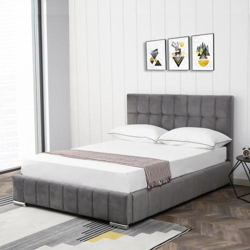 מיטה זוגית 140x190 מעוצבת ומרופדת בד קטיפתי דגם מוניק אפור