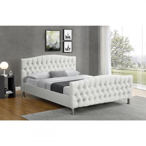 מיטה רחבה ומעוצבת בריפוד דמוי עור לבן המתאימה למזרון 160/200 דגם מרי