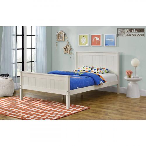 מיטת נוער (מיטה ברוחב וחצי) מעץ מלא המעוצבת בסגנון קלאסי בצבע שמנת ומתאימה למזרן 120/190, דגם לינור