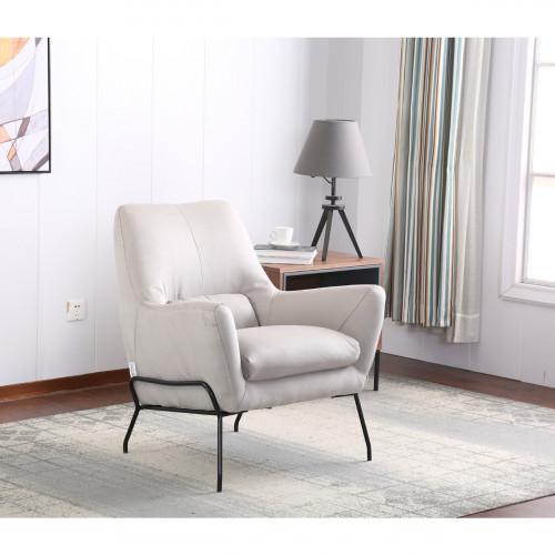 כורסא מעוצבת מרופדת בד רחיץ עם רגלי מתכת דגם רובי אפור בהיר