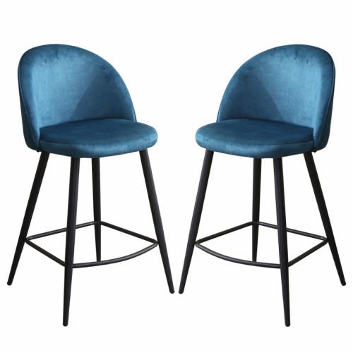 זוג כסאות בר מרופדים בד קטיפתי עם רגלי מתכת דגם קפרי ירוק-טורקיז – משלוח חינם!