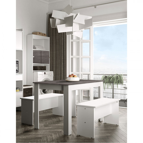 פינת אוכל כוללת שולחן וזוג ספסלים NICE PLUS לבן עם בטון