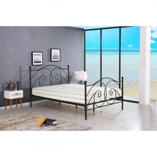 מיטת זוגית מעוצבת מברזל בגוון שחור למזרן 160x200 דגם ארגמן 160