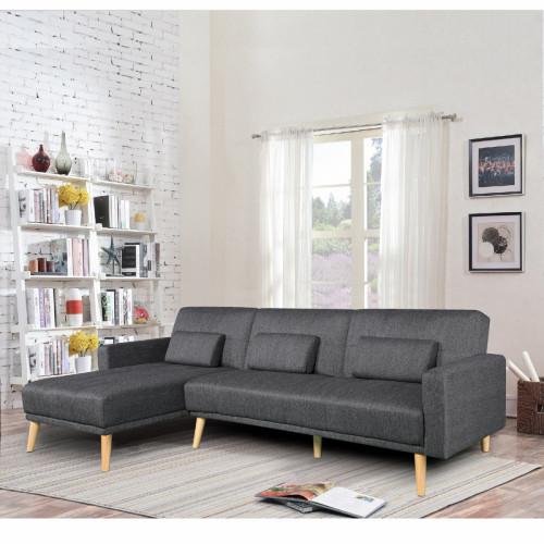 מערכת ישיבה פינתית מבד נפתחת למיטה זוגית דגם נופר שחור (צד פינה שמאול)