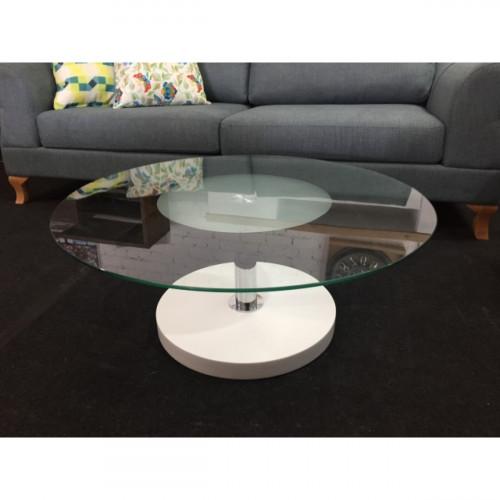 שולחן סלון זכוכית דגם FENDI WHITE