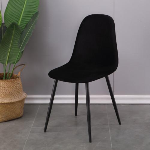 סט 4 כסאות אוכל מרופדים בד קטיפתי דגם כרמל שחור